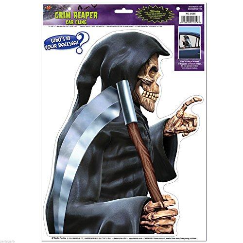 [1 Creepy Skeleton Grim Reaper Backseat Driver Car Window Cling Halloween Hearse] (Driver Seat Halloween Costume)