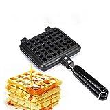 Stove Top Waffle Iron Cast Iron , dpowro® Non-stick Cast Aluminum Stovetop Belgium Waffle Iron Biscuit Cake Pan Maker Mould DIY Baking Tools(Black)
