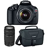 Canon EOS Rebel T5 Digital SLR Camera & EF-S 18-55mm IS II & 75-300mm III Lens & Case with 32GB Card + Battery + Tripod + Filters + Tele/Wide Lens Kit