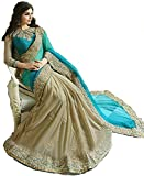 Aracruz Womens Clothing Designer Party Wear Collection Low Price Sale Offer Turquoise & Beige Color Lycra Silk Embroidered Free Size Saree Sari