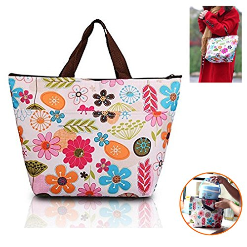 Kalevel Lunch Bags for Women Insulated Fashionable Picnic Lunch Bag Canvas Tote Bag for School Teen Girls Insulated Lunch Bag for Kids Men Women Girls Boys Adults (Colorful Flower)