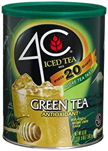 4C Iced Tea Mix Green Tea Antioxidant, (20-Quarts), 53-Ounce Canisters (Pack of 3)