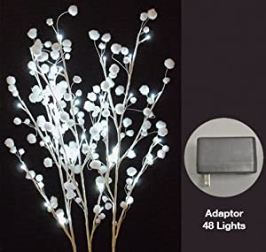 Hi-Line Gift 37394-48 Floral Lights Lighted White Snow Ball Branch with 48  LED Lights, 40-Inch Height, Cool White