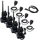 Retevis RT-5R UHF/VHF 136-174/400-480 MHz Dual-Band CTCSS/DCS FM Transceiver with Earpiece Ham Amateur Radio Walkie Talkie 2 Way Radio Long Range Black 4 Pack and Retevis Speaker Micphone 4 Pack and Programming Cable High Quality!!!