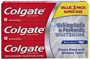 Colgate Baking Soda and Peroxide Whitening Brisk Mint Toothpaste, 8.2 Ounce, 3 Count