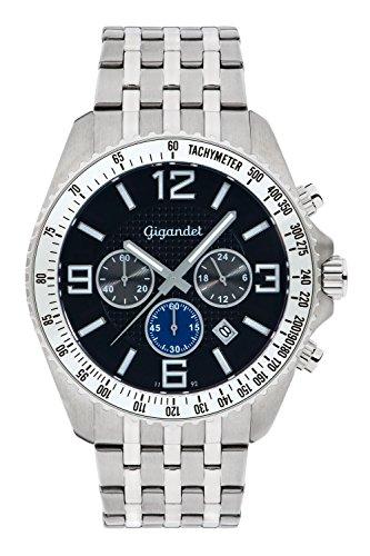 Gigandet FAST TRACK Orologio Uomo Cronografo Analogico Quarzo Argento Nero G12-009