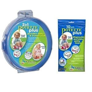 Kalencom 2-in-1 Potette Plus Blue Traval Potty w/ 10 Potty Liner Re-fills