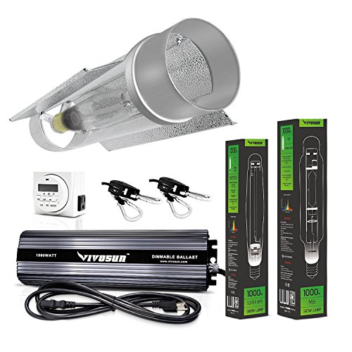 VIVOSUN Horticulture 1000 Watt Grow Light Digital Dimmable HPS MH System for Plants Cool Tube Hood Kit (Cool Tube Grow Light 1000 compare prices)