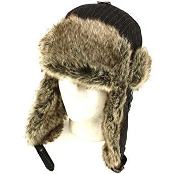Wool Pinstripe Faus Fur Pilot Trooper Ski Hat Black M/L