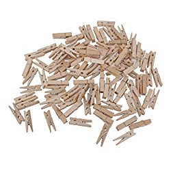 Imported 100pcs Natural Wooden Pegs Clothes Pins Clips 30*4mm