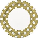 Gold Polka Dot Paper Plates, 8ct