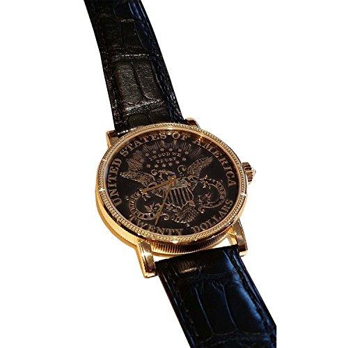 Corum Coin 20$ Homme 36mm Bracelet Cuir Crocodile Noir Automatique Cadran Doré Montre 293.645.56/0001 MU59