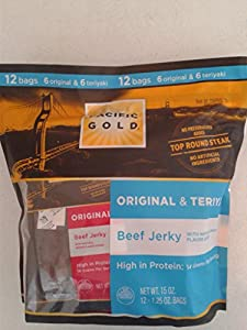 PACIFIC GOLD ALL NATURAL 97% FAT FREE BEEF JERKY VARIETY PACK (12 - 1.25 OZ Bags, NET WT 15 OZ)