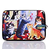 13.3-Inch to 14-Inch Neoprene Laptop Sleeve Case for 13 13.3 13.9 14 14.1 Inch MacBook Air Pro/Notebook (13.3-14 Inch, Colorful Cat)
