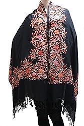 Matelco black shawl with multicolour border