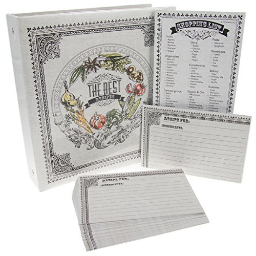 C.R. Gibson Recipe Binder Bundle Pocket-Pages 4x6 Cards Dividers Magentic Grocery Shopping Lists Notepad (Recipe Book Set compare prices)