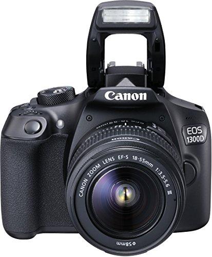 Canon EOS 1300D + EF-S 18-55 DC III 18MP CMOS 5184 x 3456Pixeles - Cámara digital (Nublado, Luz de día, Flash, Fluorescente, Sombra, Tungsteno, Acercamiento (macro), Comida, Paisaje, Retrato nocturno, Retrato, Deportes, Electrónico, Batería, Juego de cámara SLR, TTL-CT-SIR)