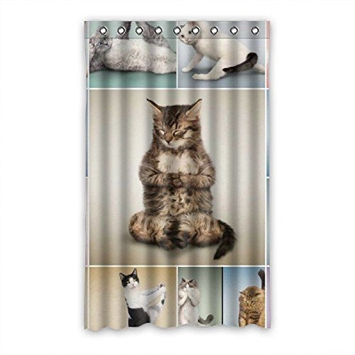 Too Amazing Custom yoga cat Pattern Polyester Bedroom Window Curtain 52