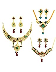 Dg Jewels Bollywood Traditional Ethnic Necklace Set Combo-DGENS Combo 108
