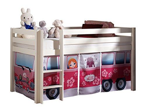 Vipack PICOHSGB1471 Pino Lit Mezzanine avec Toboggan et Housse Little Princess Pin Massif Blanc