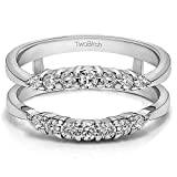 Sterling Silver Curved Wedding Ring Guard Enhancer with Cubic Zirconia (0.35 ct. tw.)