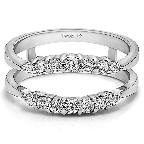 silver curved wedding ring guard enhancer with charles