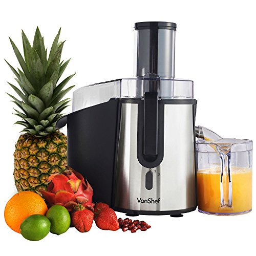 VonShef Professional Powerful Wide Mouth Whole Fruit Juicer Machine 700W Max Power Motor with Juice Jug and Cleaning Brush (Jack Lalanne Plunger compare prices)