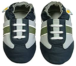 Ministar Boys Baby Infant Toddler Prewalker Leather Soft Sole Crib Shoes - Navy/Gray/Green - Small 0-6 mo.