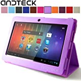"""Andteck Flip Leather Case for Zeepad 7.0, Dragon Touch A13 Q88, Y88, Chromo, FastTouch, Tagital, Noria Jr, Tab Nero 7"""" Tablet PCs w/Dual Camera [Protector/Stand] (Lavendar)"""