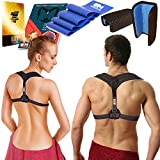 Back Posture Corrector for Women & Men + Resistance Band - Comfortable Posture Brace for Slouching | Clavicle Support | Thoracic Kyphosis Brace (Posture Corrector)