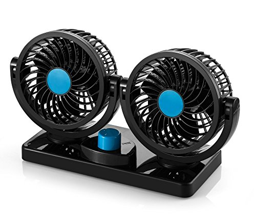 AboveTEK 12V DC Electric Car Fan - Rotatable 2 Speed Dual Blade with 9FT Cord - Quiet Strong Dashboard Cooling Fan for Sedan SUV RV Boat Auto Vehicles - Effectively Blow Out Hot Air, Smoke, Odors (12 V Air Blower compare prices)