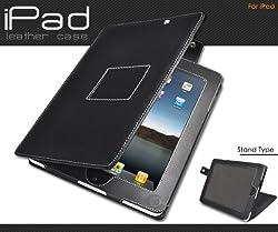 iPad専用 レザーケース 角度調節可能 スタンド利用可 ブラック