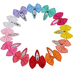 QingHan 12 Colors 2.2\'\' Baby Girl Boutique Hair Bows Barrettes Clips For Kids Toddlers Girls