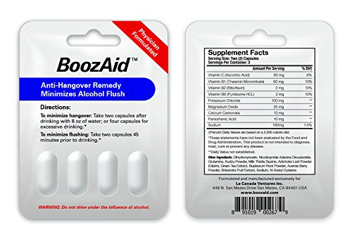 BoozAid Anti Hangover Supplement-Helps Symptoms, Prevention, Reduction, Relief-Liver Cleanse, Support, Replenishment-Reduce Alcohol Hangovers-Scientifically Proven Cure-100% SATISFACTION GUARANTEED!
