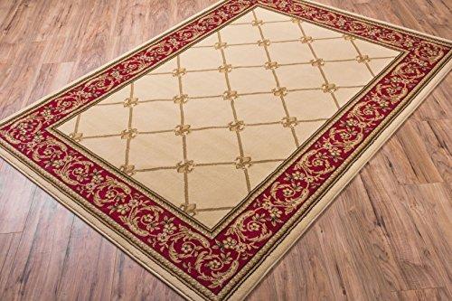 Ivory Traditional Rug, 2-Feet 3-Inch x 3-Feet 11-Inch Fleur De Lis Carpet