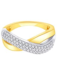 Lucera Gold Plated Silver American Diamond Ring For Women (RF4794)