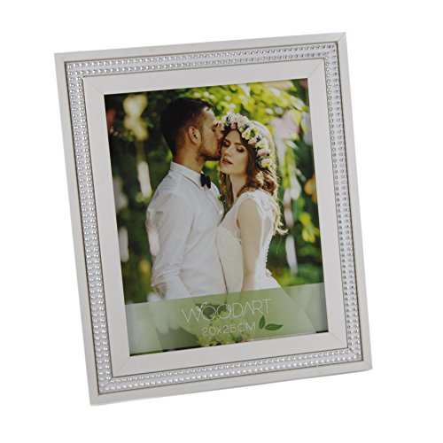 WOODART Silver Beaded Inlay Banding 8-inch x 10-inch White Picture Frame Ornate Wooden Photo Frame (Table Top Frames compare prices)