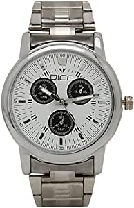 "Dice ""Smooth 4107"" Chrono Dial Face Wrist Watch for Men. Fitted with Beautiful Grey Color Dial, Stainless Steel Case and Chain"