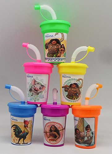 Disney Moana Birthday Sipper Cups with Lids