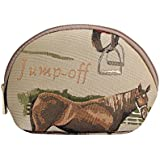 Signare Womens Fashion Canvas Tapestry Cosmetic Make Up Bag In Horse Design