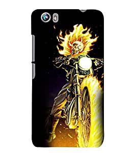 Printvisa Burning Skeleton On A Bike Back Case Cover for Micromax Canvas Fire 4 A107