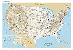 13x19 Anchor Maps United States General Reference Wall Map Poster - USA Foundational Series - Capitals, Cities, Roads, Physical Features, and Topography - Pack of Ten [ROLLED]