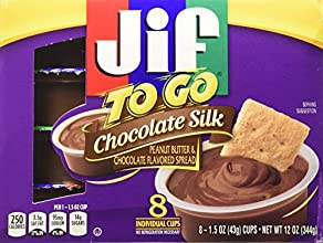 Jif to Go Chocolate Silk Peanut Butter amp Chocolate Flavored Spread 8-15 Oz Cups Pack of 3