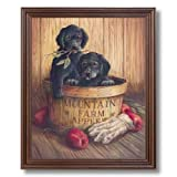Country Apples Puppy Dogs Kids Room Kitchen Wall Picture Cherry Framed Art Print
