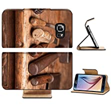 buy Samsung Galaxy S6 Flip Wallet Case Liili Premium Wooden Bench With Rusty Grungy Tools And Handles Image Id 9600565