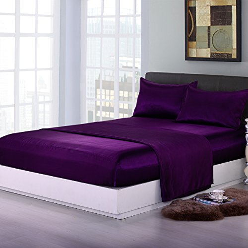 Sookie 4 piece Home Fashions Royal Opulence Satin Queen Sheet Set, Purple (Purple Satin Sheets compare prices)