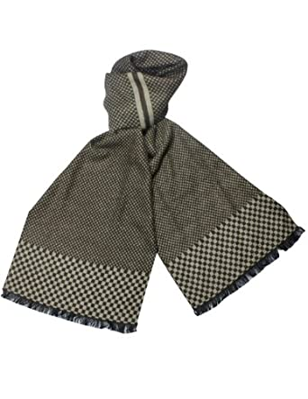 Reversible Checkers & Cross Pattern Rayon Silky Cashmere-Feel Long Scarf - Brown