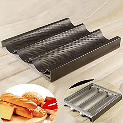 CycleMore Nonstick Baguette Mold New French Bread Pan Bake Tray 3 Loaf Bakery Pan Tray Mould