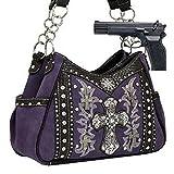 Purple Western Cross Rhinestone Concealed Carry Handbag