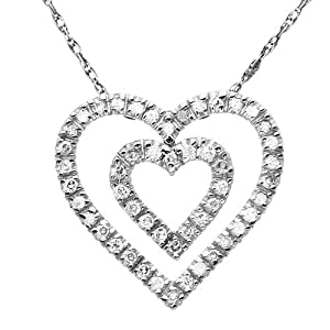 10k White Gold Double Row Diamond Heart Pendant (.15cttw, I-J Color, I2-I3 Clarity), 18""